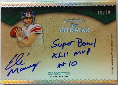 2010 Topps Five Star Eli Manning Quotable Super Bowl Autograph Card