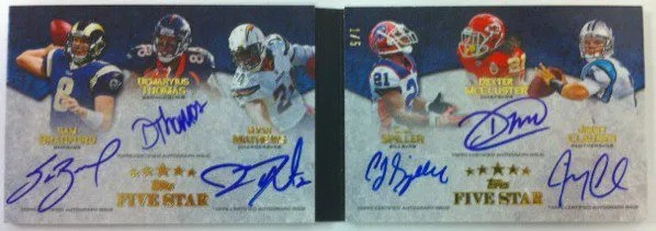 2010 Topps Five Star Sam Bradford Demaryius Thomas Ryan Matthews CJ Spiller Dexter McCluster Jimmy Clausen Six Auto Book Card #1/5