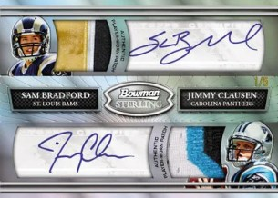 2010 Bowman Sterling Sam Bradford Jimmy Clausen Dual Autograph Patch Card