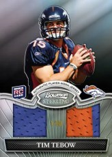 2010 Bowman Sterling Tim Tebow Dual Relic Black Parallel Card