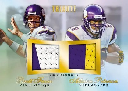 2010 Topps Tribute Brett Favre Adrian Peterson Dual Combo Relic Jersey Card