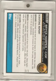 2010 Bowman Chrome USA Bryce Harper Superfractor Back