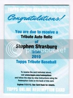 2010 Topps Tribute Stephen Strasburg Autograph Relic
