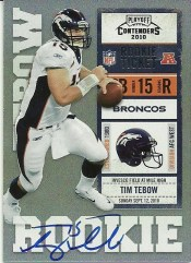 2010 Playoff Contenders Tim Tebow White Jersey Autograph Card