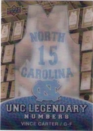 2010 Upper Deck North Carolina Vince Carter Legendary Numbers