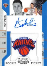 2010-11 Panini Contenders Patches Andy Rautins Regular Patch Autograph RC Card