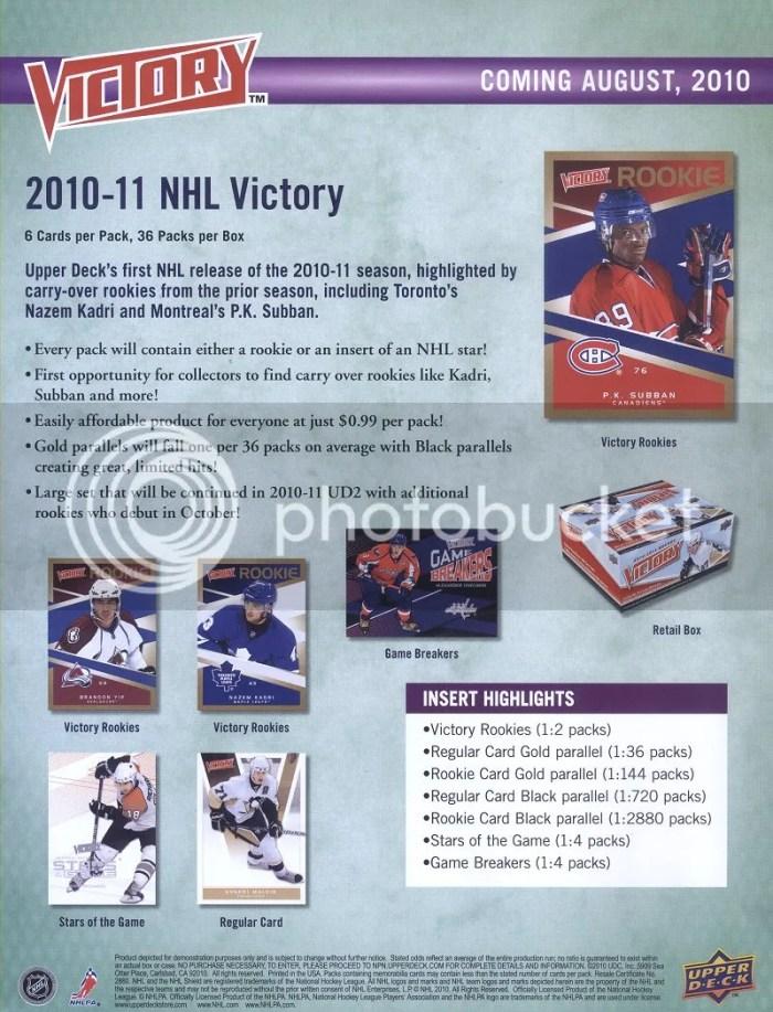 2010/11 Upper Deck Victory Hockey Sell Sheet
