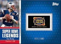 2011 Topps Tom Brady Super Bowl Logo Stamp Card
