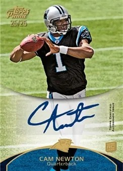 2011 Topps Prime Cam Newton Autograph RC Card #50 Silver Parallel #/25