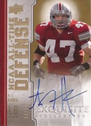 2010 UD Exquisite AJ Hawk Defense Autograph