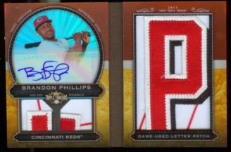 2011 Topps Triple Threads Brandon Phillips Number Patch Auto