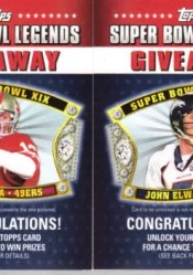 2011 Topps Super Bowl Legends Giveaway Code