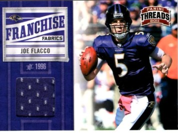 2011 Panini Threads Franchise Fabrics #10 Joe Flacco Jersey Card #/299