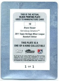 2011 Topps Heritage Minor League Bryce Harper 1/1 Printing Plate Back Black