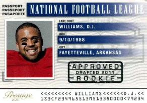2011 D.J. Williams NFL Passport Panini Prestige