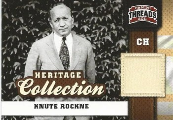 2011 Panini Threads Heritage Collection Knute Rockne Memorabilia