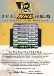 10-11 UD The Cup Dual NHL Shields COA Card