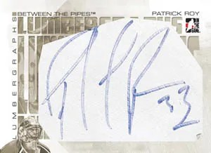 2010/11 ITG Between The Pipes Lumbergraphs Patrick Roy Autograph Card