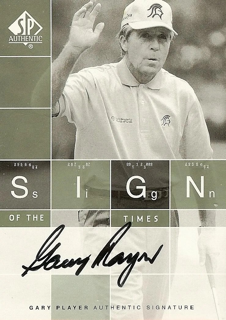 2002 Upper Deck SP Authentic Golf ST-GP Gary Player #/675 Sign of the Times Autograph Card