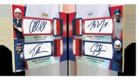 2012 Topps Finest Andrew Luck Quad Patch Autograph Book Card
