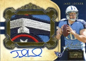 2011 Panini National Treasures Jake Locker Autograph Patch Card