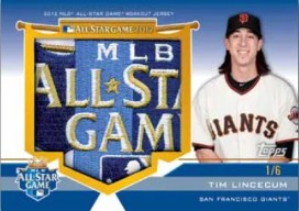 2012 Topps Update Series Tim Lincecum Jumbo Patch All-Star Card