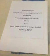 2012 Topps Museum Collection Yu Darvish Gold Auto Redemption Card