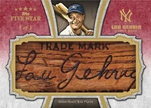 2012 Topps Five Star Lou Gehrig Bat Plate Card #1/1