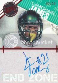 2012 Press Pass Showcase LaMichael James Autograph End Zone Card #/10