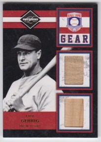 2011 Panini Limited HOF Gear Lou Gehrig Dual Bat Card