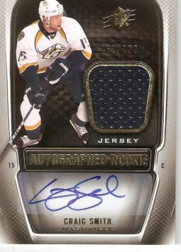 2011-12 Upper Deck SPx Craig Smith Autograph Jersey RC Card #/799