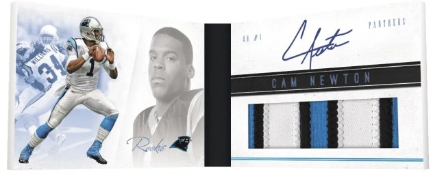 2011 Panini Playbook Cam Newton Rookie Booklet Material Autograph RC Card