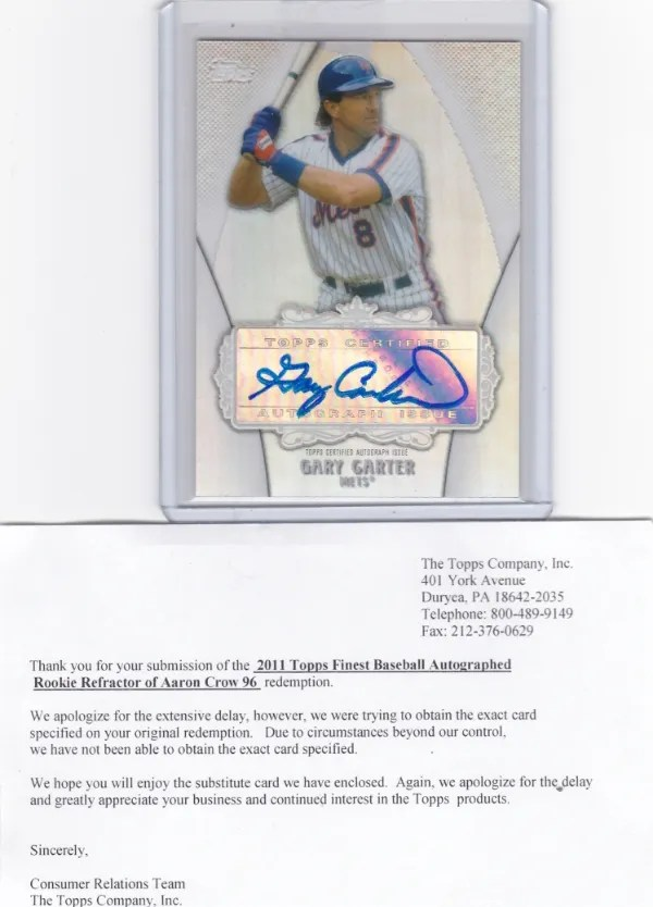 Gary Carter Redemption Replacement Auto