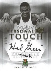 2011-12 Upper Deck Exquisite Hal Greer Personal Touch Autograph Favorite Food Steak