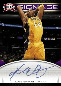 2012-13 Panini Threads Basketball Kobe Bryant Signage Autograph Card