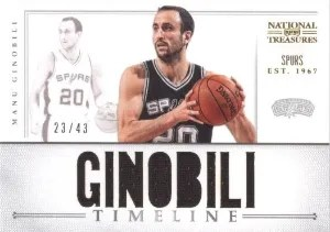 12/13 Manu Ginobili National Treasures Timeline Name Jersey