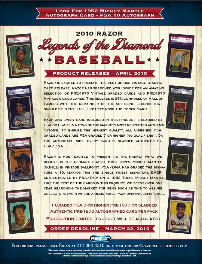 2010 Razor Legends of the Diamond Baseball Sell Sheet