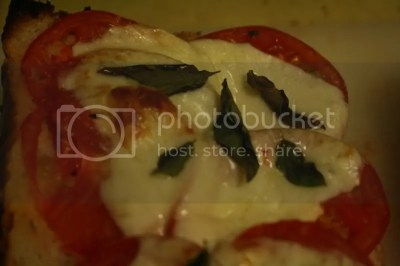 Baked Italian Bread with Tomatoes, Basil, and Provolone Cheese