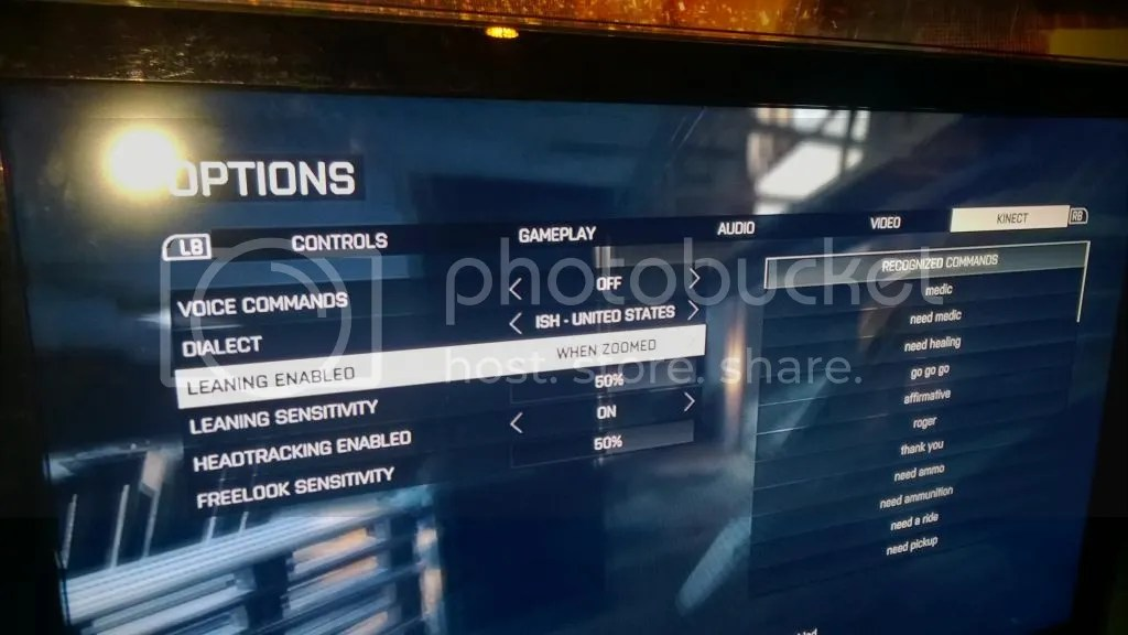 battlefield 4 kinect options