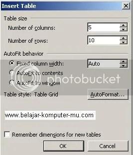 Cara membuat tabel