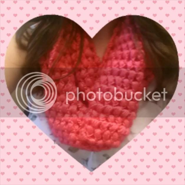 Valentine's Day Hot Pink Puff Stitch Cowl Craft DIY Heart