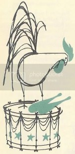 Charley Harper illustration of a chicken on a drum
