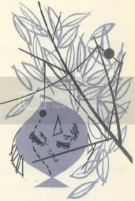 Charley Harper illustration of a fish with a tangled fishing line in its mouth