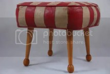 vintage wood and leather stool