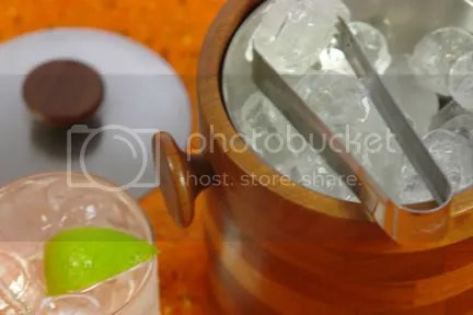 photo of a glass of gin & tonic, vintage wooden ice bucket with tongs on orange vintage blanket