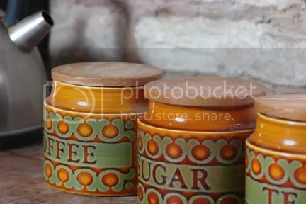photo of our vintage 1960s Hornsea Pottery 'Bronte' tea, coffee & sugar canisters