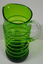 vintage Whitefriars green glass water jug