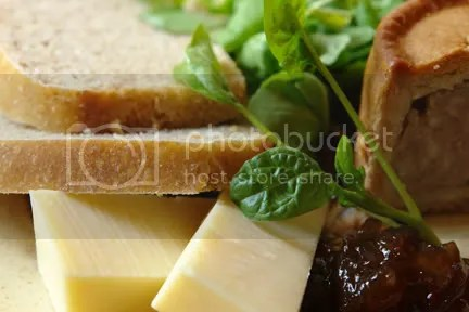 Ploughman's platter with slices of sourdough bread