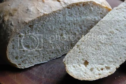 sliced sourdough loaf showing the crumb