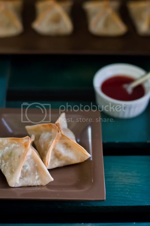 Baked Wonton Wraps with Potato Peas masala